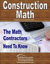 Construction Math. A great tool to help you get your builders or contractors license in Arkansas.