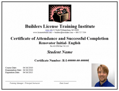 Lead Paint RRP Certified Renovator Certificate, online, course, training